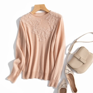 Women's 100% Real Wool Crew Neck with Lace Long Sleeve Pullover Sweater Top Shirt OT1103
