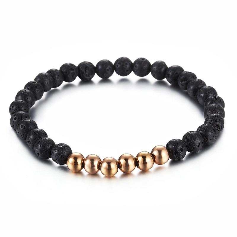 أساور من الفولاذ المقاوم للصدأ على الموضة بخرز أسود مستدير مجوهرات للنساء