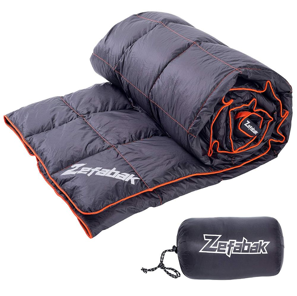 Agemore vers le bas Camping couverture extérieure légère vers le bas couverture compacte imperméable Camping randonnée voyage 300g vers le bas remplissage