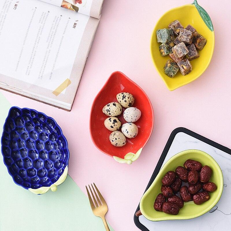Criativo enorme forma de abacate cerâmica frutas salada tigela bonito morango sobremesa prato lanche mirtilo limão utensílios de mesa suprimentos