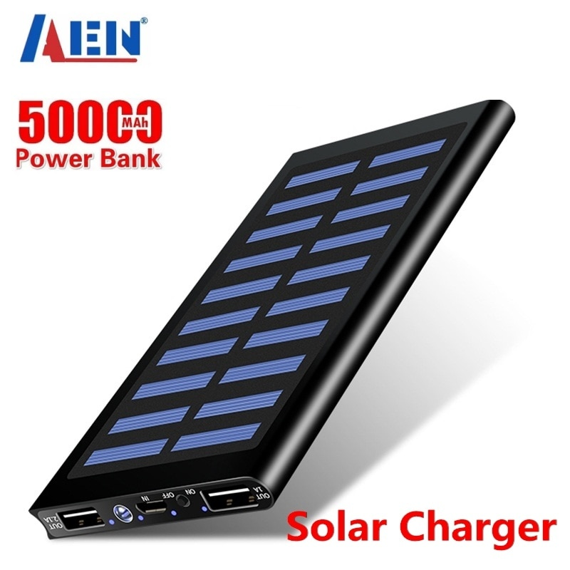 Solar 50000mah Power Bank External Battery 2 USB LED Powerbank Portable Mobile phone Solar Charger f