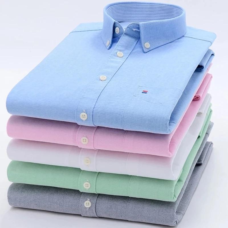 Мужская хлопковая рубашка из ткани Оксфорд, повседневная классическая рубашка с длинными рукавами, одним накладным карманом и воротником н...