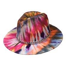 Colorful Printed Fedora Jazz Hat Women Flat Wide Brim Panama With Belt Wool Felt Colorful Fedora Hat