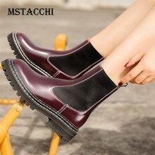 MStacchi 2020 mode bottines en cuir verni dames bottes femmes plate-forme bottes Sexy femme chaussures Plus velours Calzado Mujer