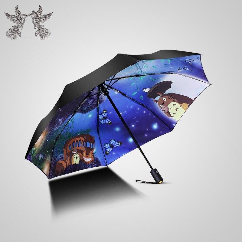 Ghibli-sombrilla de Totoro para mujer, sombrilla de lluvia, Paraguas Plegable, Parapluie, Guarda,...