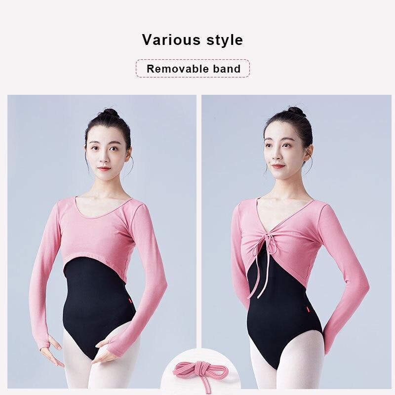 Woman Ballet Tops Drawstring Cotton Long Sleeve Dance Shirts Tops Woman Dancewear Training Tops Dance Costumes
