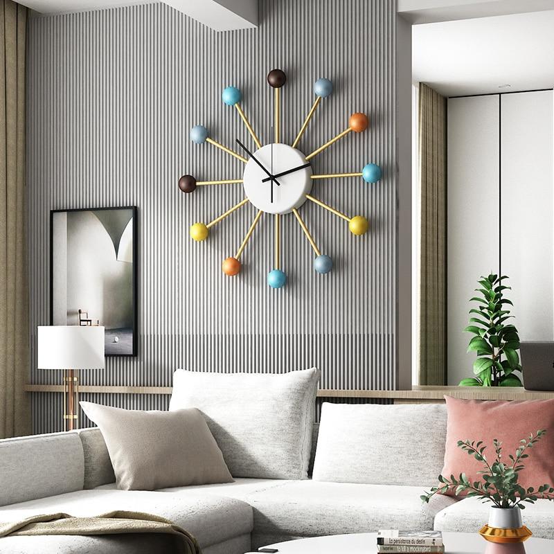 Home Living Room Decoration Watches Wall Clock Modern Design Nordic Wooden Balls Metal Large Teen Bedroom Kitchen Decor Clocks