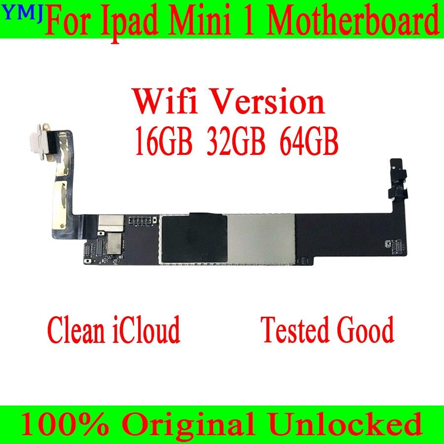 Original desbloqueado para ipad mini 1 placa-mãe wifi + 3g versão, limpar icloud com slot para cartão sim wifi + 3g versão para ipad mini 1