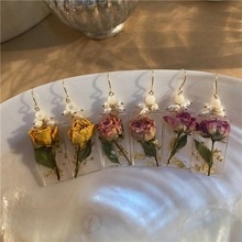 달콤한 자연 로즈 귀걸이 빈티지 골드 호 일 진주 긴 귀걸이 에폭시 영원한 꽃 귀걸이 여자 여자 선물