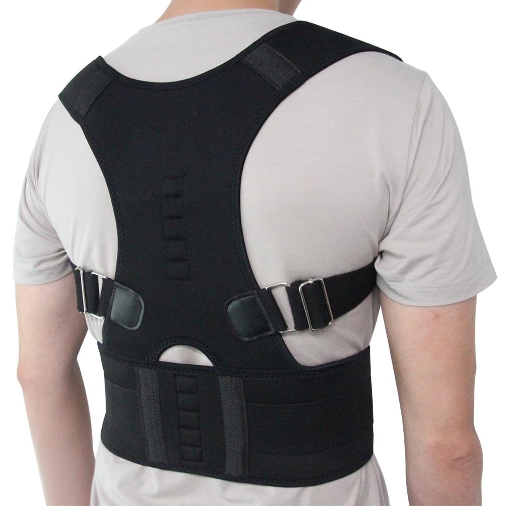 Corrector de postura magnético ajustable para hombre y mujer, corsé de tirantes para espalda correa de espalda, soporte Lumbar, Corrector recto de espalda