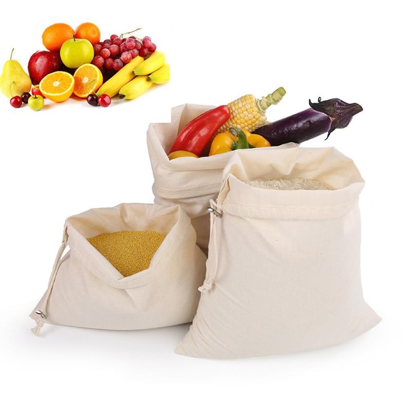 Fruit/Vegetable/Rice/Bread Reusable String Bag For Grocery Shopper Mesh Cloth Linen Sundries Storage Bag For Home Organizer