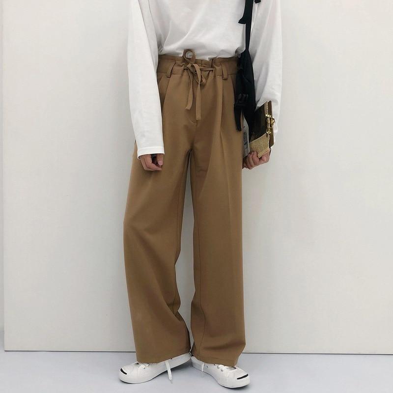 HOUZHOU Men's Classic Pants Suit Pants Black Pants Loose Casual Korean Streetwear Straight Summer Autumn Mens Pants Fashions Men