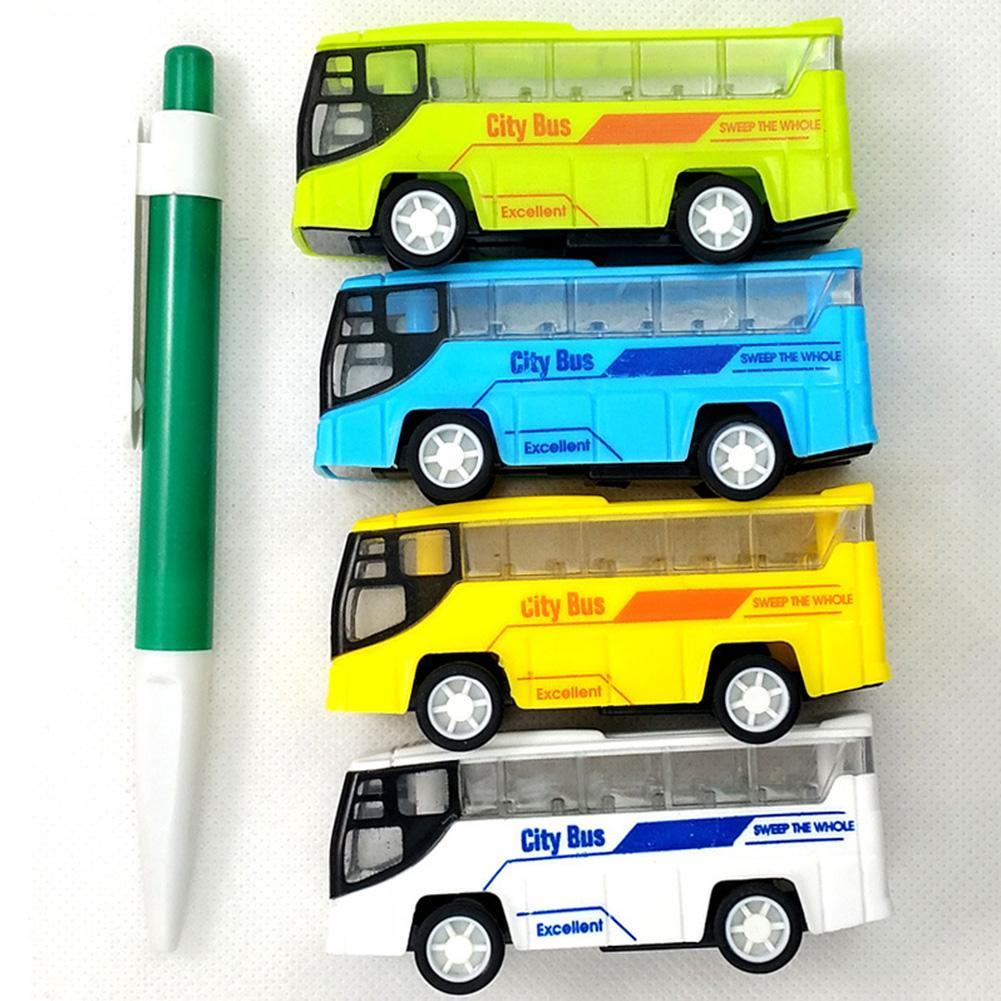 Mini coche de juguete de plástico de imitación para autobús de ciudad, juguete de plástico de dibujos animados portátil para niños, juguete de juego de colores aleatorios