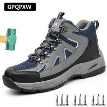 Sapatos de Segurança Anti-perfuração Respirável dos homens Desgaste-oposição Anti-skid E Biqueira De Aço Sapatos de Segurança Wo