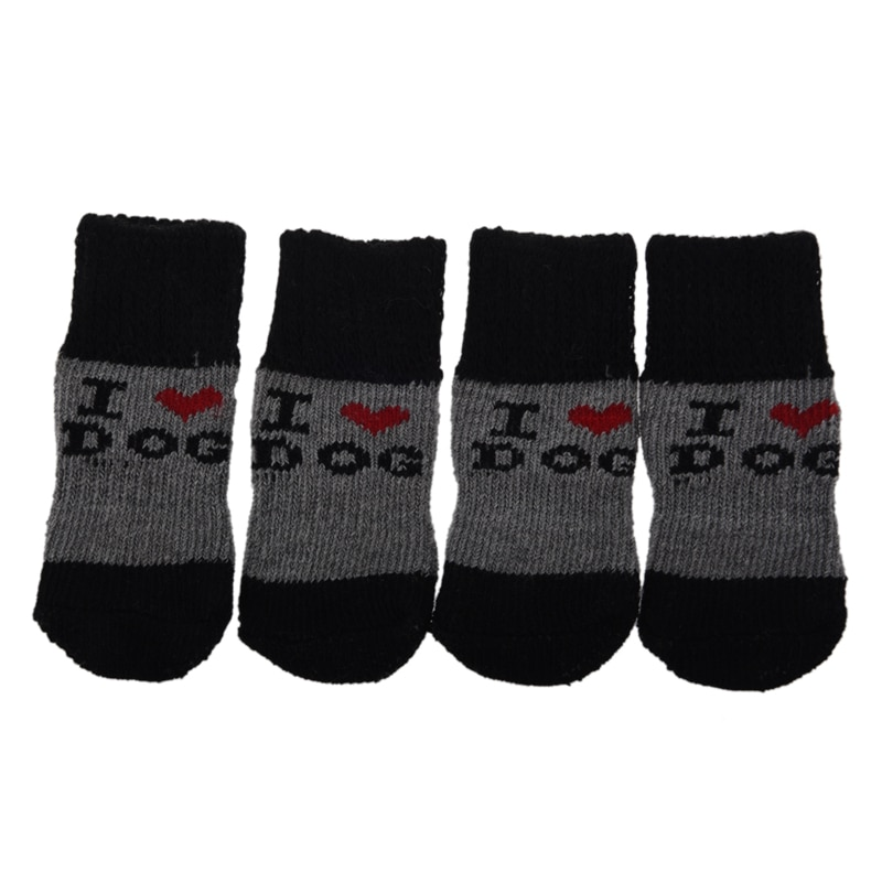 Winter Ribbed Hem Acrylic Shoes Wear Socks for Pet Dog