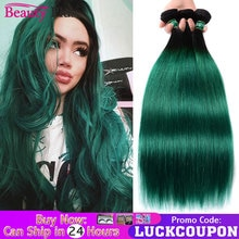 Green Hair 3 Bundles Deals Ombre 2 Tone Brazillian Straight Hair Weaves 4 Pcs Black Teal Beauty Plus Remy Human Hair Extensions
