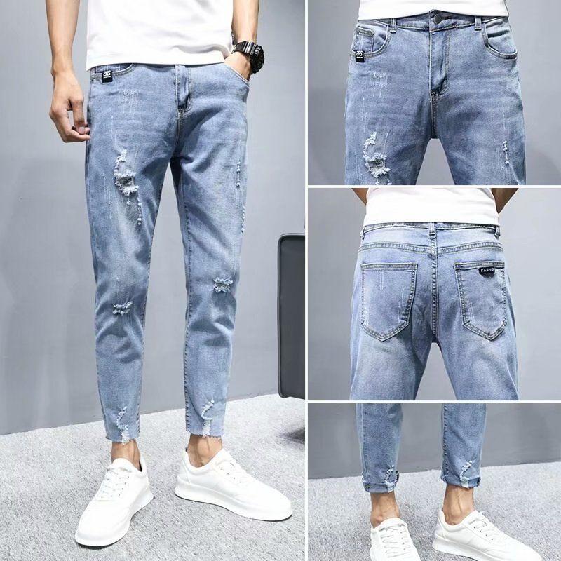 2021 new perforated men's Korean slim fit youth elastic Leggings trend versatile men's  Straight FULL Length Ankle-length Pants
