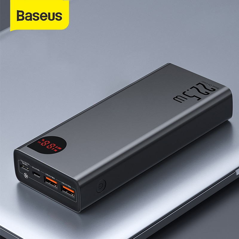 Baseus Power Bank 30000mAh with 20W PD Fast Charging Powerbank Portable External Battery Charger For