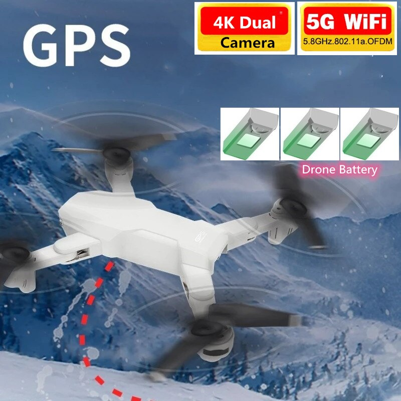 5G GPS WIFI FPV Drone With 4K HD Dual Camera GPS Position Smart Follow RC Quadcopter Altitude Hold Long Time Fly Aircraft Gifts