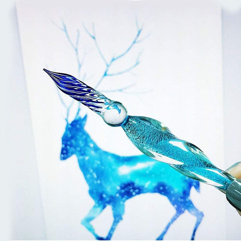 7pcs 1Set Luminous Crystal Glass Dip Pen Signature Pen Fountain Pens Business Offices School Stationery Starry Sky Pen ガラスペン