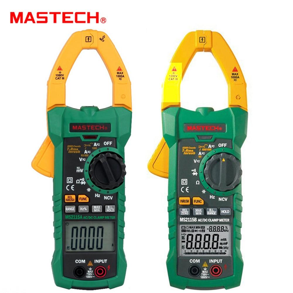 MASTECH DC AC Ток 1000A цифровой клещи True RMS Амперметр NCV напряжение ом тестер мультиметр с USB MS2115A 2115B
