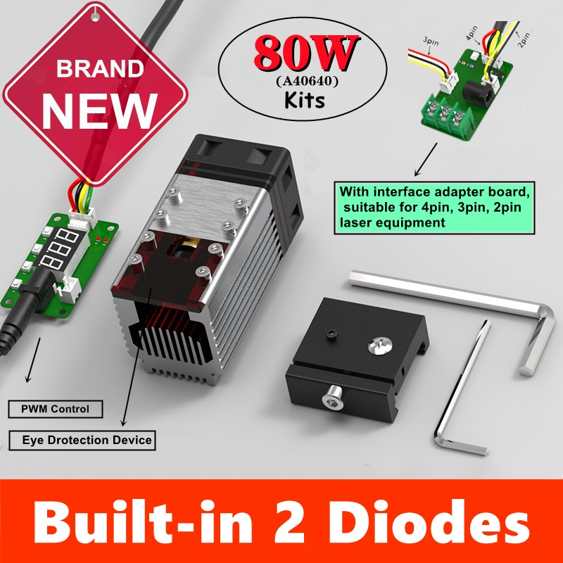 NEJE A40640 50W/80W CNC الليزر رئيس وحدة 450nm TTL 15W الانتاج ل آلة تقطيع بالليزر حفارة الخشب علامة أداة مع 2 الثنائيات