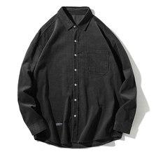 Printemps et automne camisa masculina marque de mode japon Style Vintage revers lâches chemise en velours côtelé hommes décontracté streetwear blusa