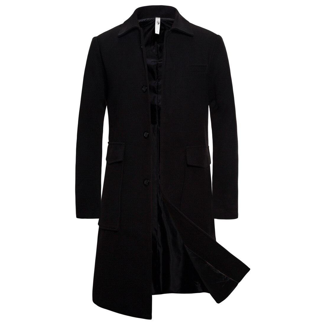 Новая мужская Зимняя шерстяная куртка, Мужская Повседневная Длинная шерстяная куртка, чистая модная повседневная куртка/мужская повседнев...
