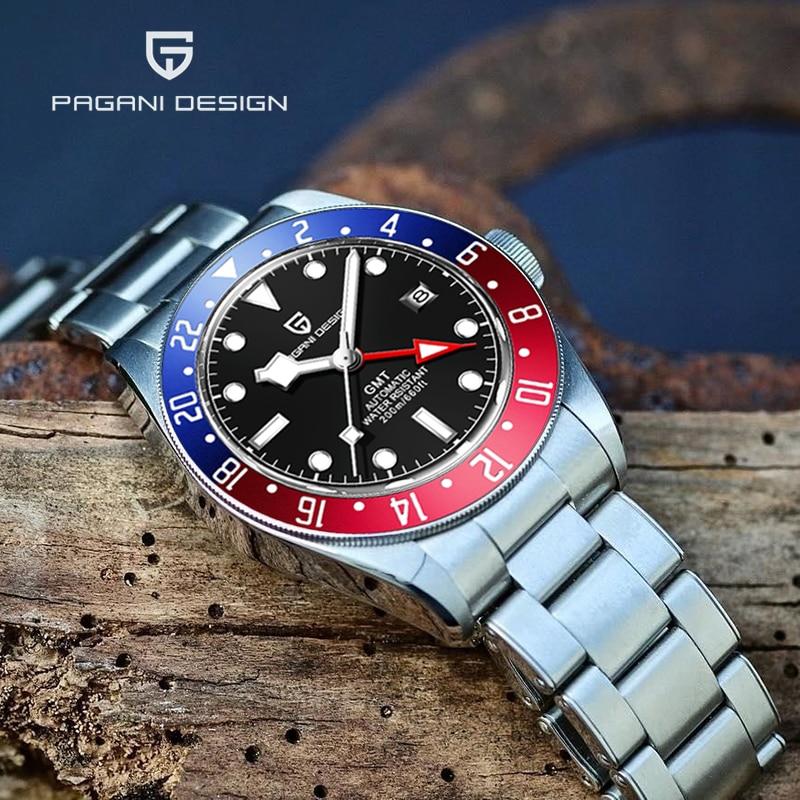 PAGANI تصميم جديد GMT الياقوت الرجال التلقائي ساعة ميكانيكية الفولاذ المقاوم للصدأ 200 متر الغوص ساعة معصم Relogio Masculino 2021