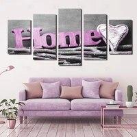 Toile dart mural  5 panneaux  impression HD  amour eternel pour la famille  images  decor de salon  fleur  sans cadre