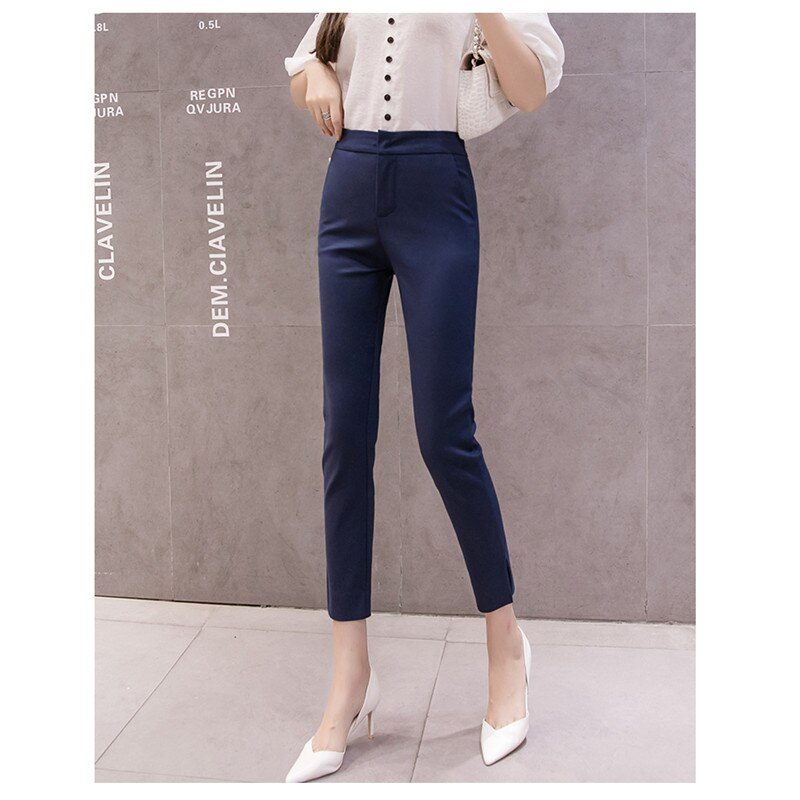 JUJULAND mujeres lápiz pantalones 2019 otoño alta cintura señoras Oficina Pantalones Casual mujer ajustado Bodycon pantalones elásticos 5447
