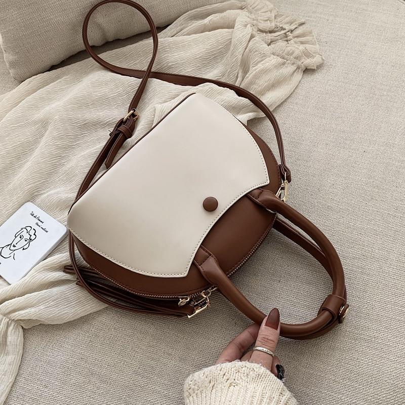 ¡Novedad de 2020! Elegante bolso de mano con diseño de concha para mujer, bolso de diseñador de piel sintética de alta calidad, bandolera de hombro de color popular