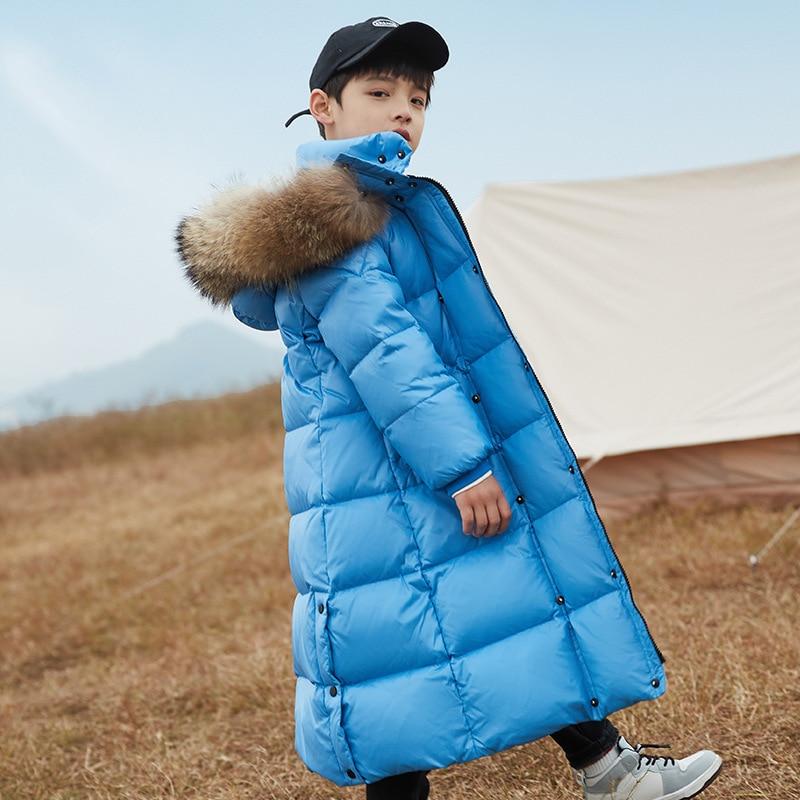 X-Long Winter Jackets Kids 8 10 years Girls Boys Thicken Warm Down Coat Fur Hoodies Children Outerwear enlarge