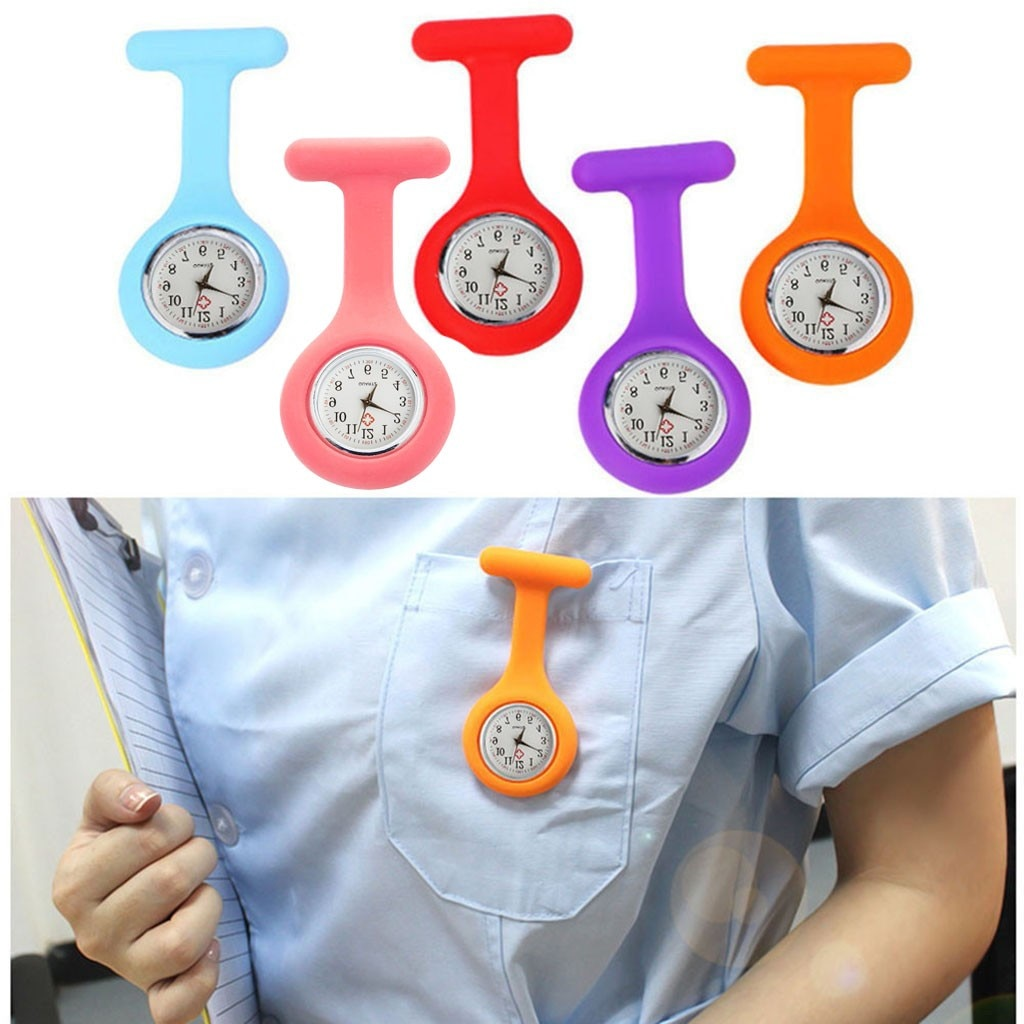 Fashion Pocket Watches Silicone Nurse Watch Brooch Tunic Fob Watch With Free Battery Unisex Watches