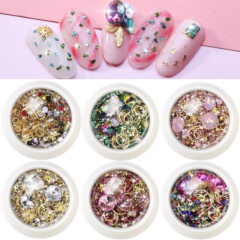3D Rhinestones Set 1 Box DIY Gems Charming Mix Nail Art Decoration Filling  UV Resin Epoxy Mold Making Filling For DIY Jewelry