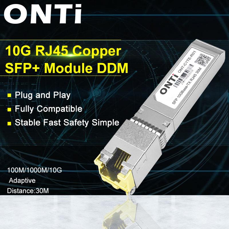 ONTi 10G RJ45 النحاس SFP + وحدة 10GBase-Tx إيثرنت الألياف البصرية FTTH متوافق مع سيسكو/Mikrotik التبديل 30 متر