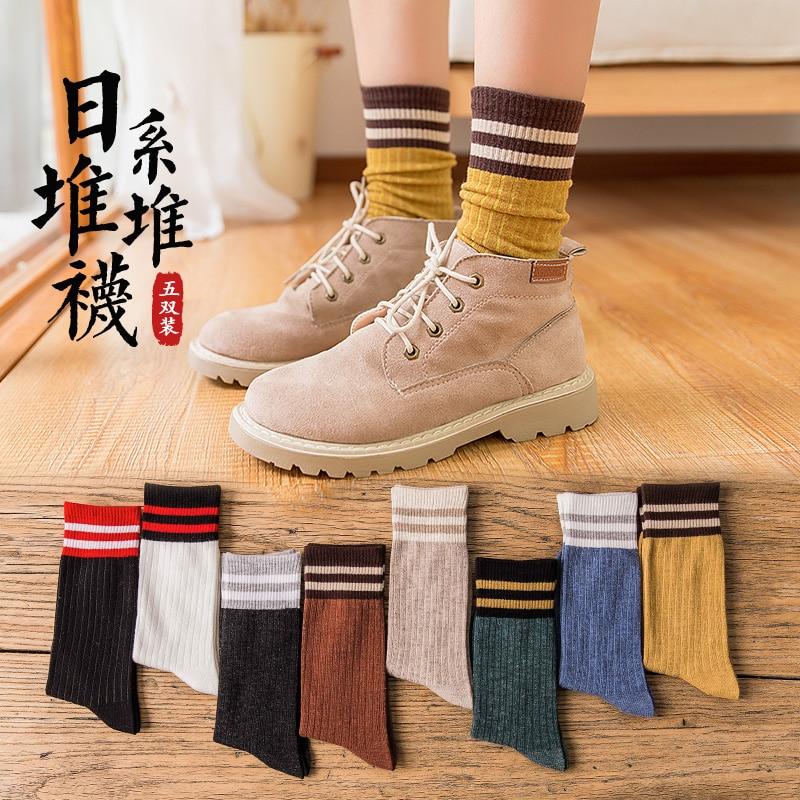 Bunching Socks Women's Korean Winter Autumn and Winter Mid-Calf Korean Preppy Style Cotton Socks Jap