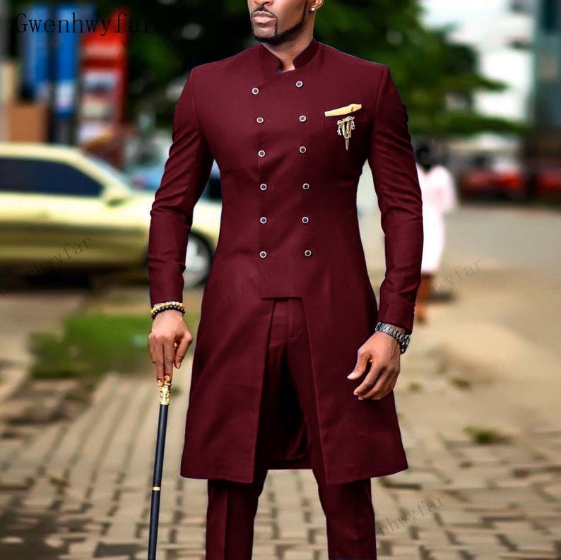 Gwenhwyfar الدعاوى للرجال العريس سهرة الهندي ملابس زفاف رجل عادية السترة الرجال بورجوندي البدلة سليم بدل زفاف (سترة + سروال)