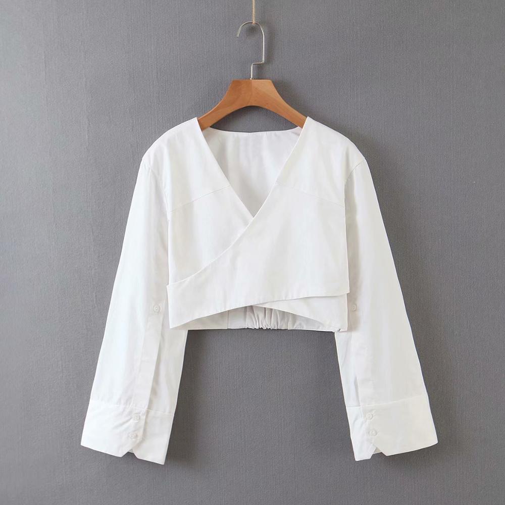 Blusa feminina cropped curta gola v, camisa feminina cropped manga comprida frente única e gola v, branca, casual, 2020 ls6541