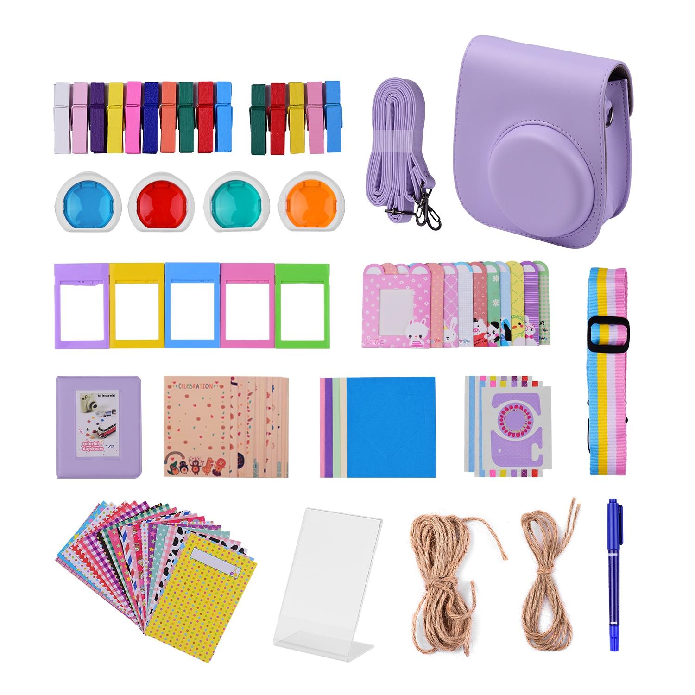 12-em-1 kit de acessórios de câmera instantânea para fujifilm instax mini 11 bolsa de câmera/alça de câmera/álbum de fotos/clipes de fotos/moldura