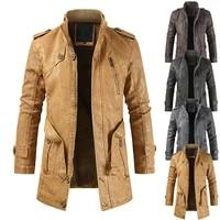 mens woolen coat casual windbreaker autumn and winter fashion leather coat medium length mens stand collar handsome windbreaker
