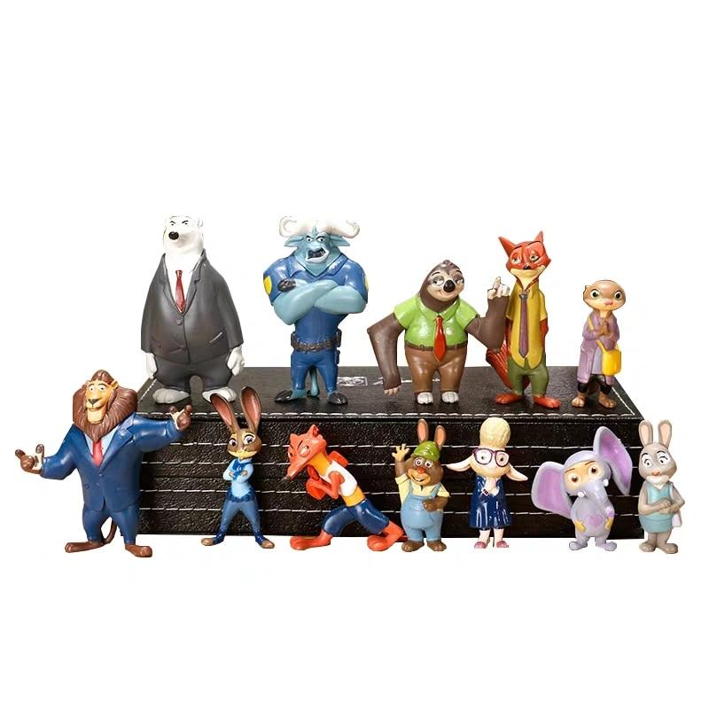 12 unids/set Disney Zootopia zootrópolis Judy modelo decoración muñeco de acción figura Personaje de Anime Zootopia zootrópolis chico juguete para regalo