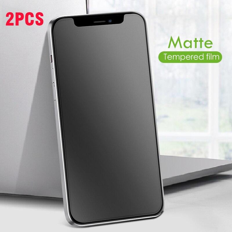 2 pçs vidro fosco para iphone 12 pro max protetor de tela anti impressão digital vidro temperado com revestimento oleophobic 9h vidro fosco
