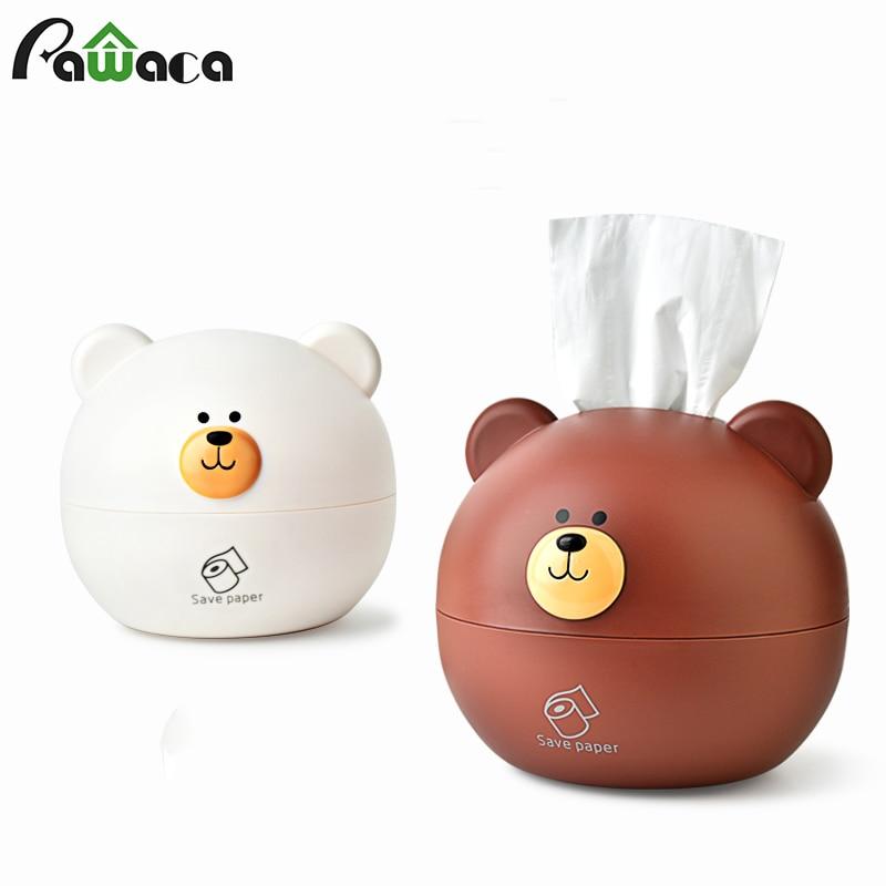 Cute Nordic Bear Tissue Box Roll Paper Storage Box Round Shaped Tissue Box Container Dispenser Towel Napkin Tissue Holder