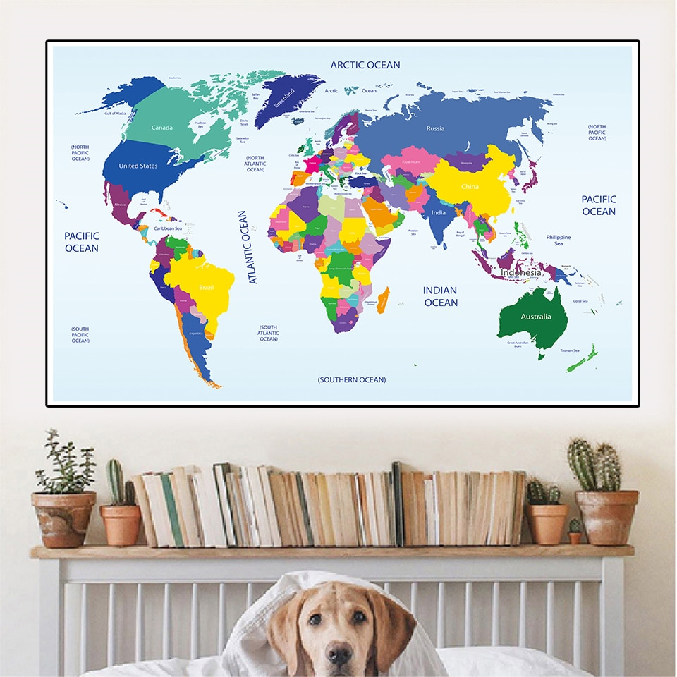 colorful world map wall decor 150x225cm large world map office supplies detailed antique poster wall chart for culture supplies 225*150cm The World Political Map Fabric Printing Wall Poster Non-woven Canvas Painting  Classroom Home Decor School Supplies