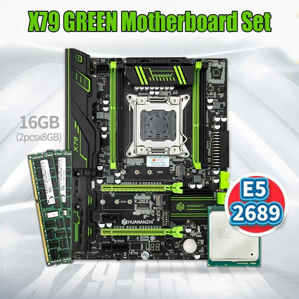 X79 GREEN 2.49 V3.1 Motherboard with Intel E5 2689 with 2*8GB DDR3 RECC Memory Combo Kit Set USB3.0 SATA3 NVME M.2 SSD