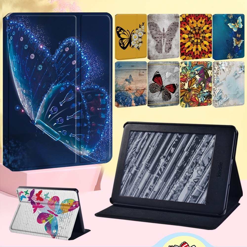 Butterfly Series Tablet Case for Amazon Kindle EReader Kindle 8the Gen/10th Gen Leather Stand Cover Case for Paperwhite 1 2 3 4