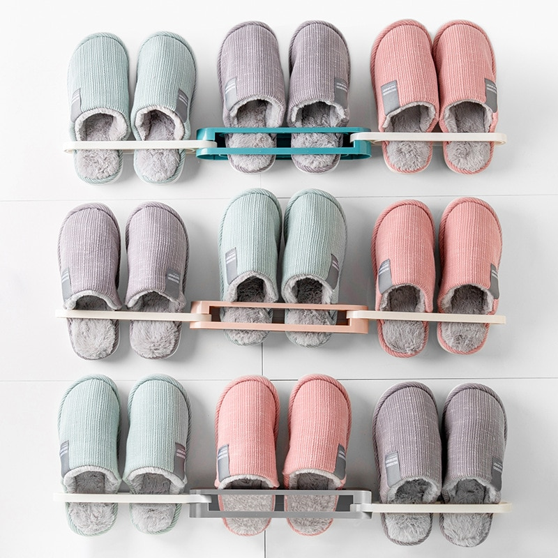 Folding slippers and towel rack Multi-functional unique non-perforated shoe hanger folding hanger