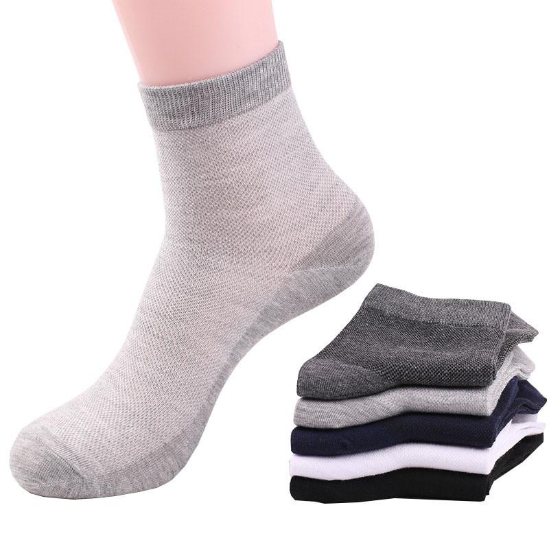 Носки мужские хлопковые сетчатые, деловые Повседневные Дышащие, впитывающие короткие, классические, дешевые, 5 пар, на лето
