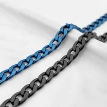 Mens Simple 6mm Blue Black Color Stainless Steel Curb Cuban Link Chain Bracelets for Women Unisex Wr